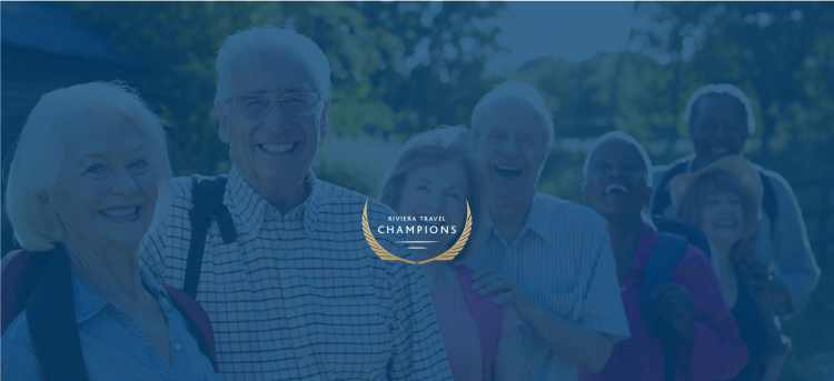 Group of friends on holiday with Riviera Travel Champions logo
