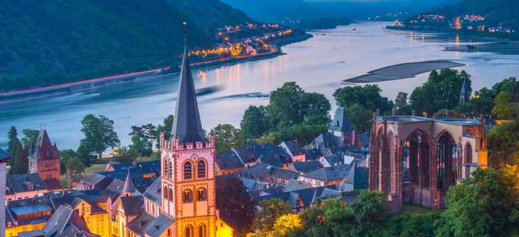 Bacharach along the Rhine in the evening