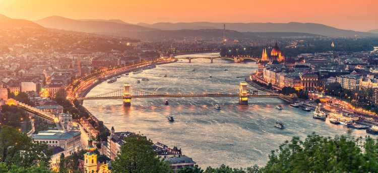 Danube river in Budapest at sunset