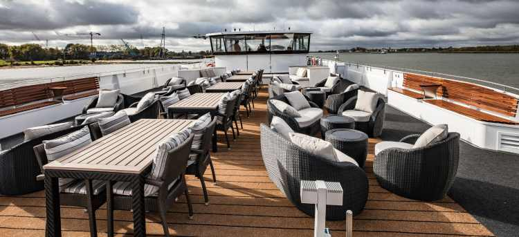 Sun Deck of the MS William Wordsworth river cruise ship