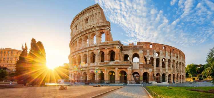 Bright sunlight through Rome Colosseum