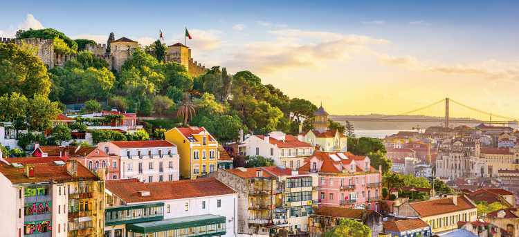 Sao Jorge Castle and colourful houses, Lisbon