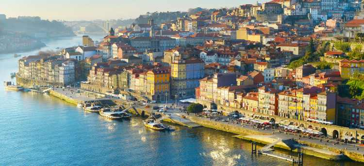 The old town of Porto in Portugal on the banks of the Douro river