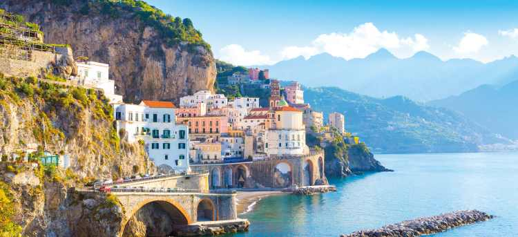 The waterfront of the Amalfi Coast in Italy