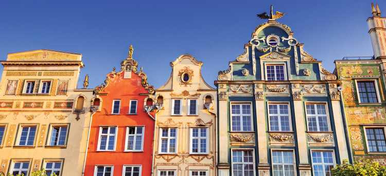 Colorful houses in the old town of Gdansk city, Poland