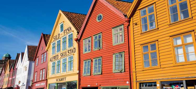 Bergen   Norway   traditional colourful wooden houses   Riviera Travel   escorted tour