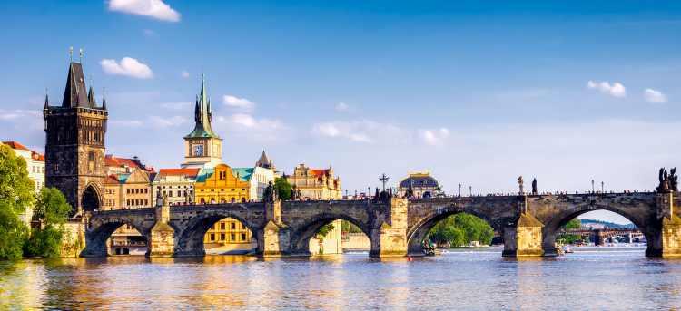Prague city bridge