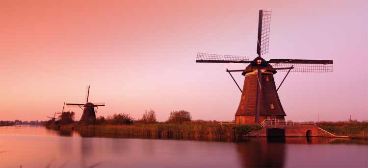 Dutch windmill at dusk