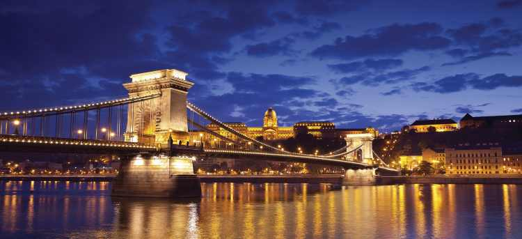 Budapest Chain Bridge Lit Up Night View | Hungary | Danube river | Riviera Travel | River Cruises