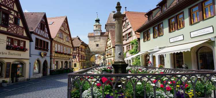 Sunny View of Rothenburg, Romantic Road, Old Worldly, Colourful Buildings, Flowers