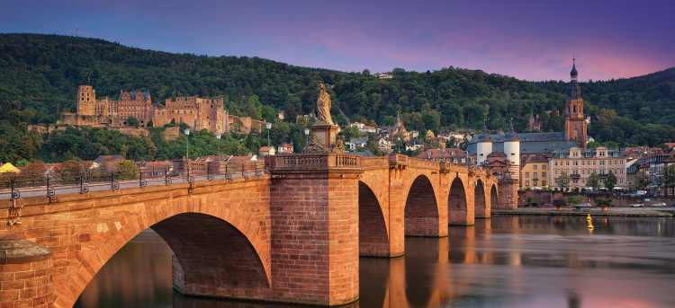 Medieval bridge in Heidelberg, Germany