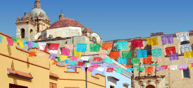 Oaxaca street with colourful banner decorations