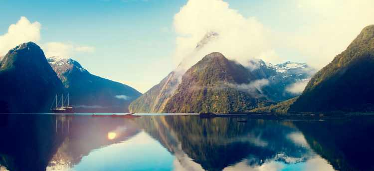 Milford Sound | Mitre Peak | mountain | lake | New Zealand | Riviera Travel | escorted tour