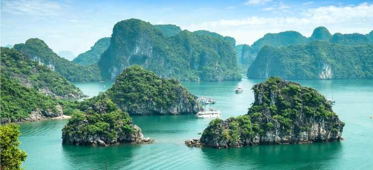 Cruise UNESCO-listed Halong Bay on our escorted tour