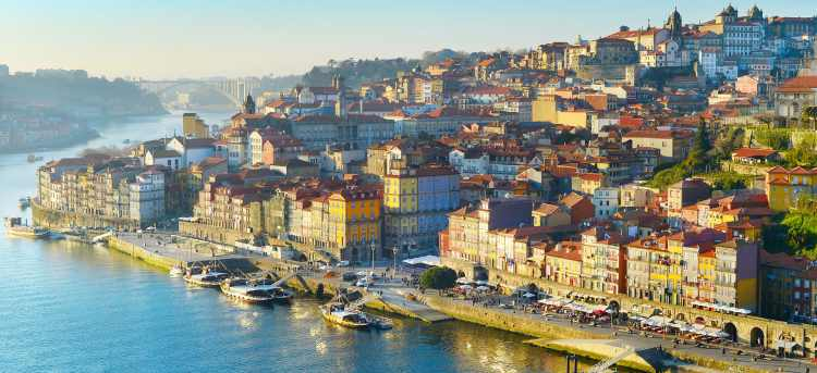 Port town of Porto along the Douro river in Portugal