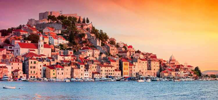 Beautiful golden sunset over Croatian town