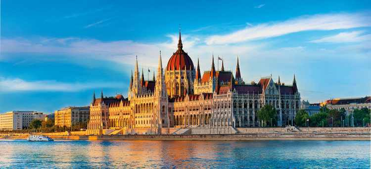 Hungarian parliament building on the Danube river in Hungary