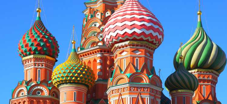 Close up of the colourful domes of St Basil's Cathedral | Moscow, Russia