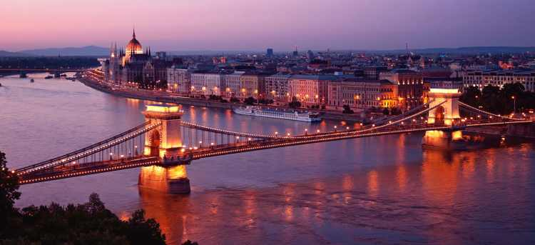 Danube river at dusk chain bridge
