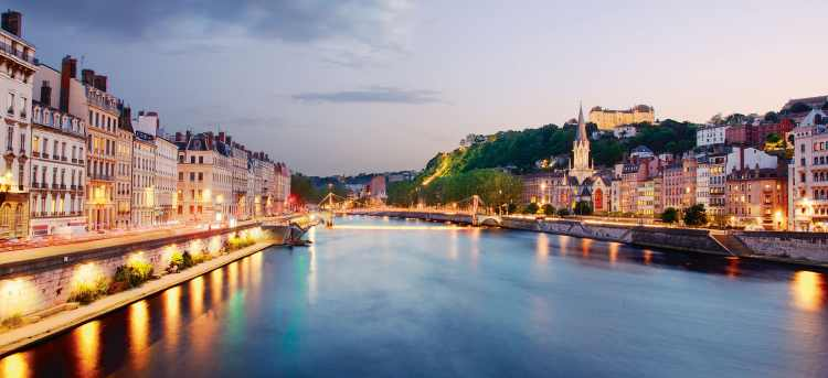 River Rhône through city of Lyon, France