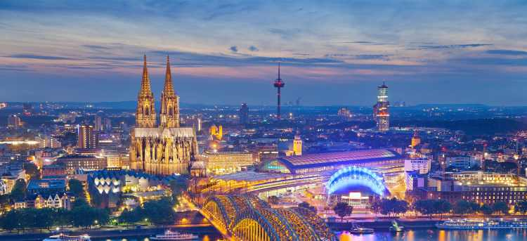Cologne city and cathedral lit up evening