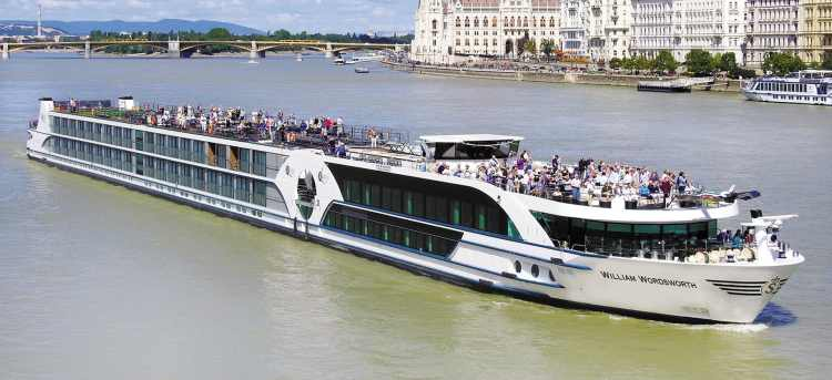 MS William Wordsworth ship on Danube River, Budapest