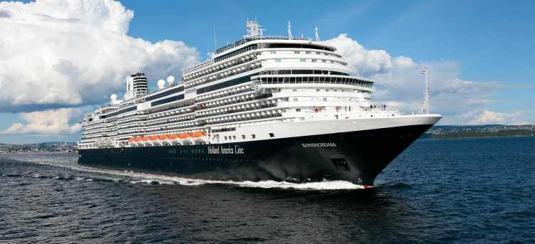 The MS Koningsdam sailing on open waters
