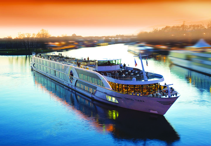 River Cruise Ship at Sunset