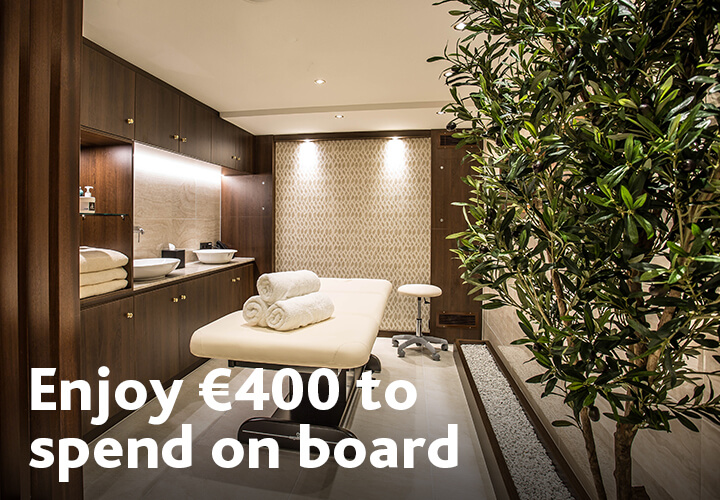 Enjoy €400 on-board credit