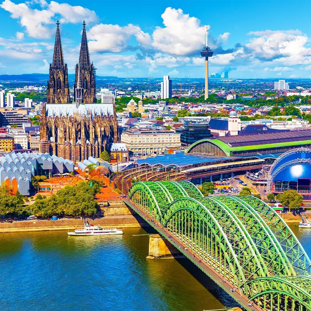 Cologne Cathedral and bridge over the Rhine river