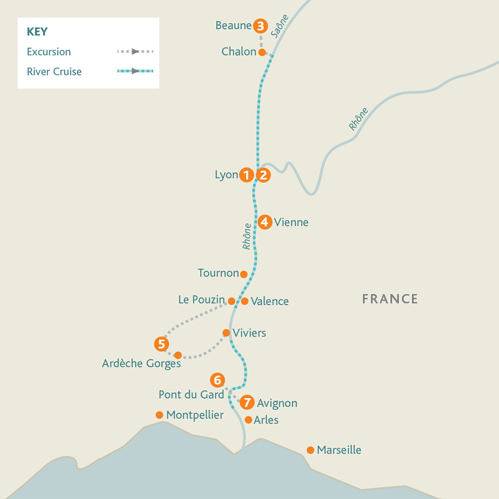 Burgundy, River Rhone and Provence route map