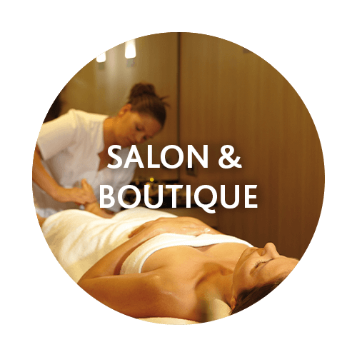 You can spend your credit in the salon and the boutique