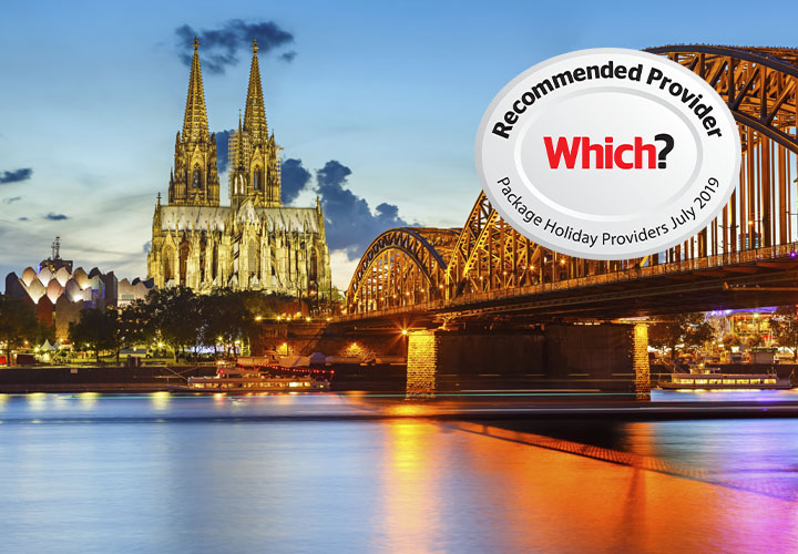 Cologne Cathedral at night with Which? logo