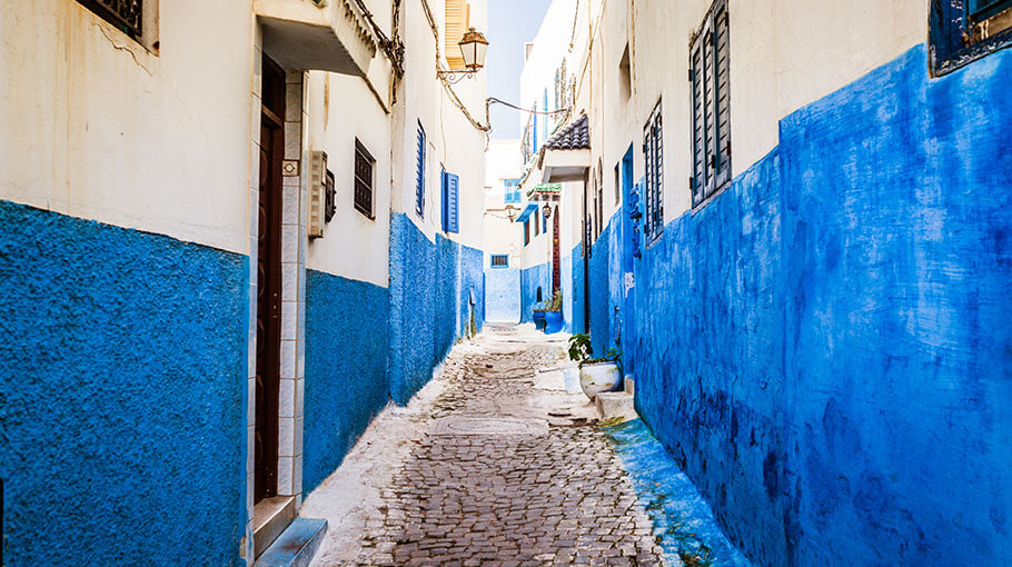 Blue houses and narrow streets of Rabat