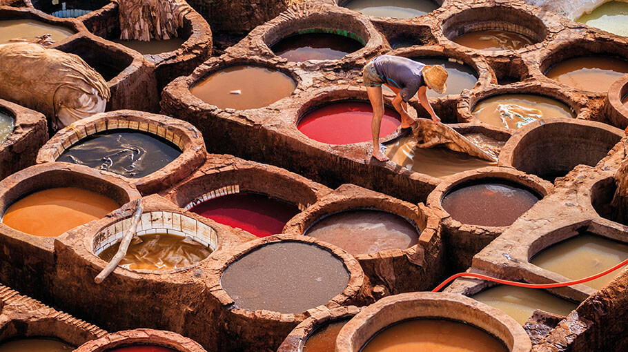 Traditional Moroccan leather tannery, medina Fez