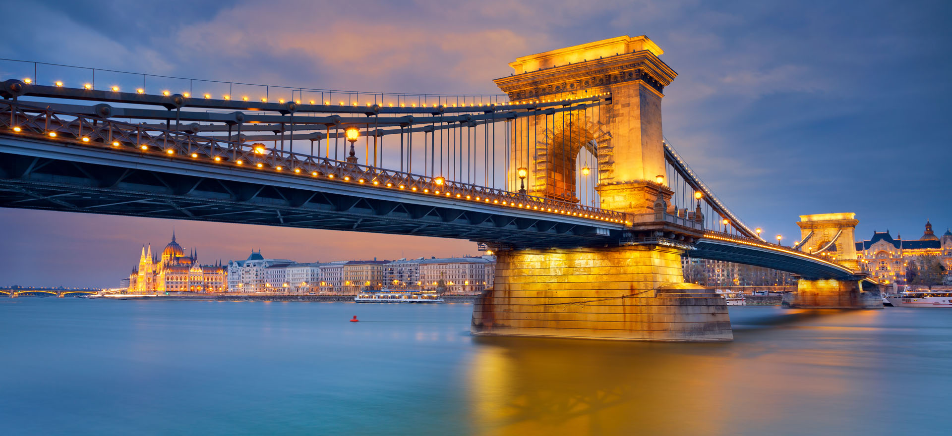 Budapest chain bridge over the Danube river