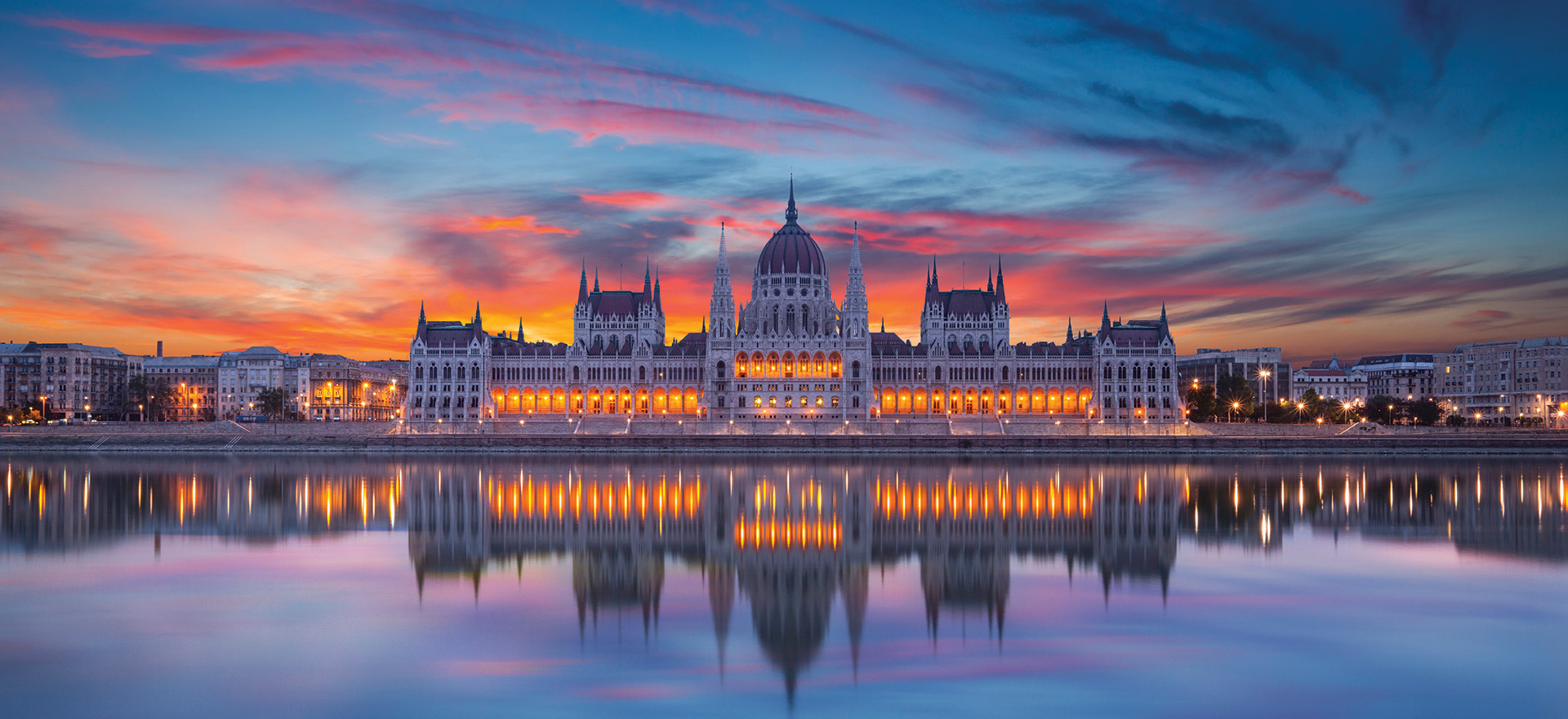 Hungarian Parliament Building at night straight view