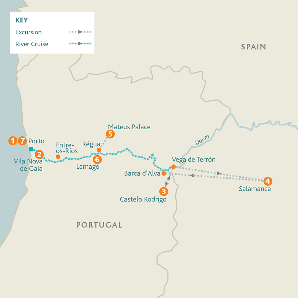 Cruise route map. See day 8 for the extension route map