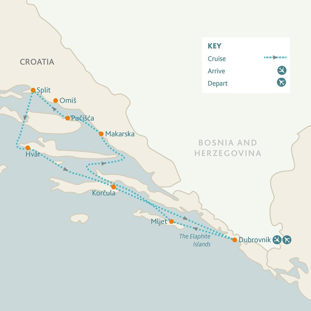 Dubrovnik - Split - Dubrovnik route map
