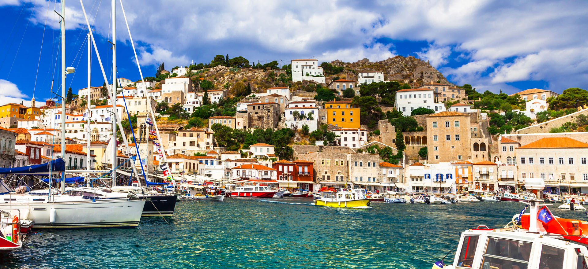 Colourful houses and boats on Hydra Island