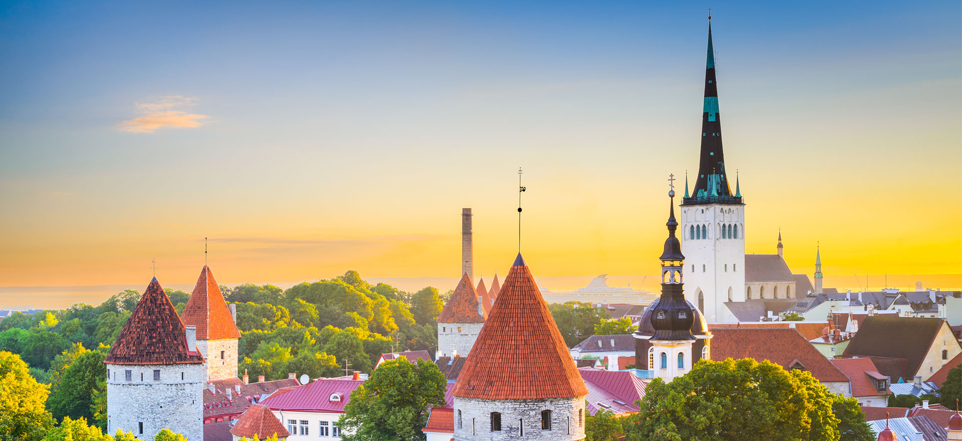Bright skyline over the town of Tallinn