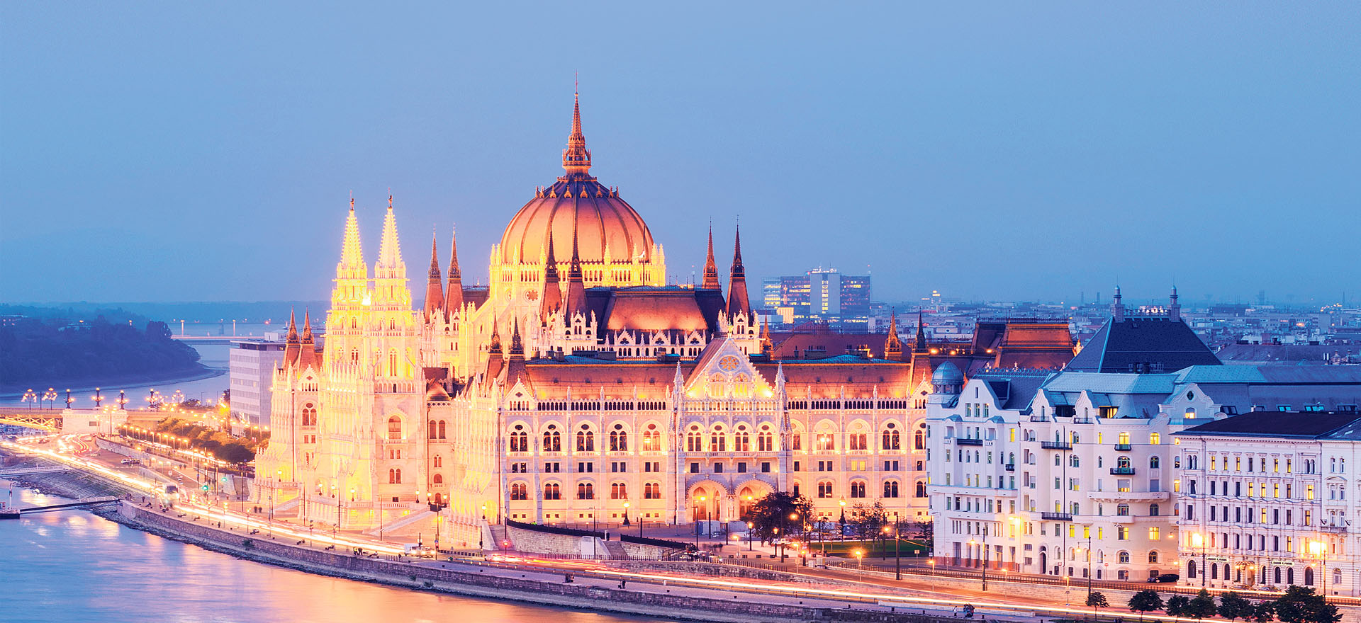 Hungarian Parliament Building evening lights