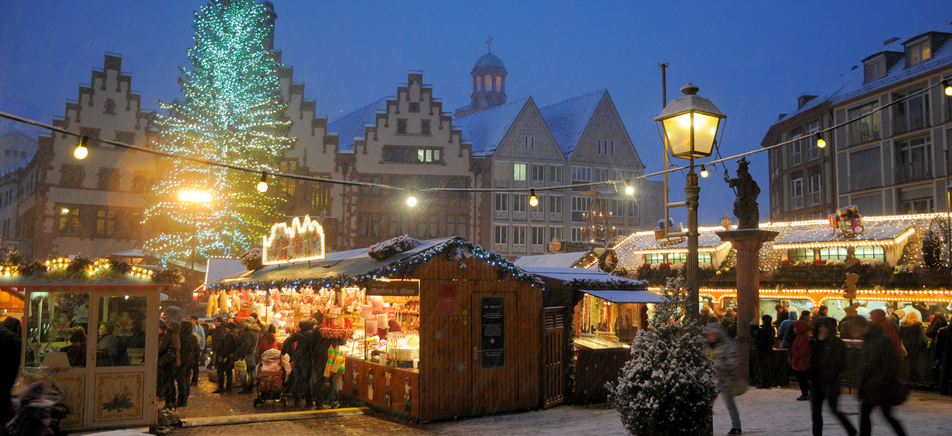 Market stalls covered with snow in German town