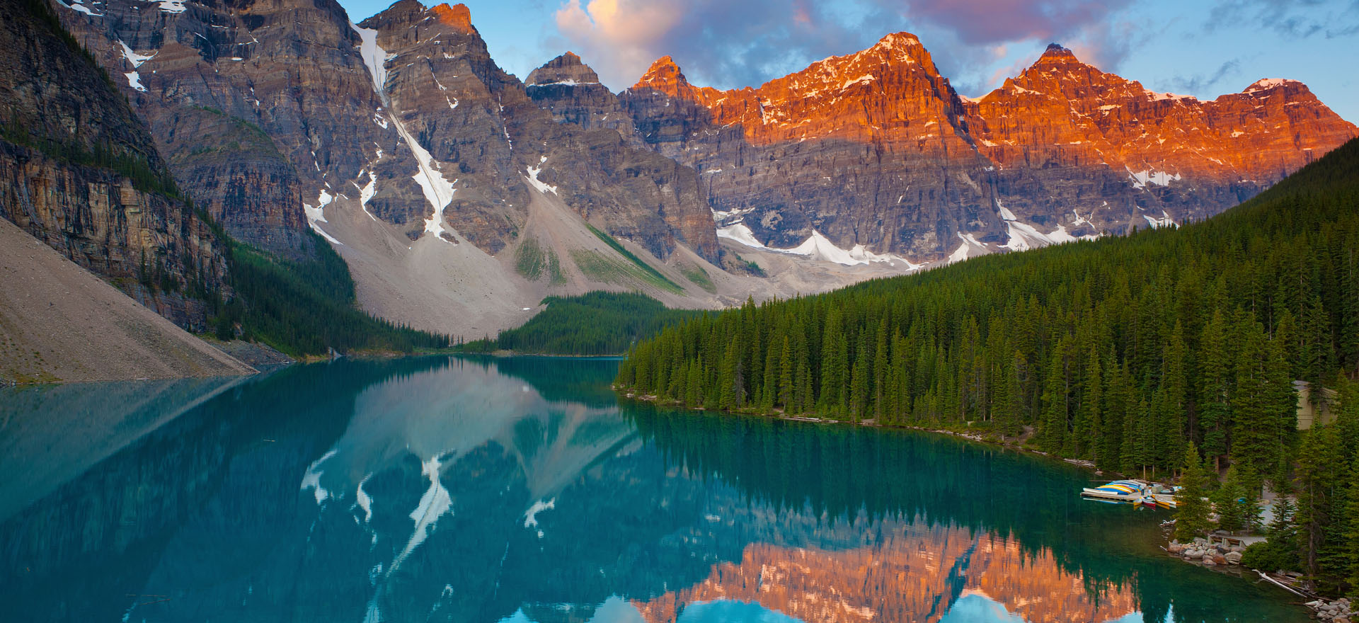 Sunrise over the Rocky Mountains at Moraine Lake