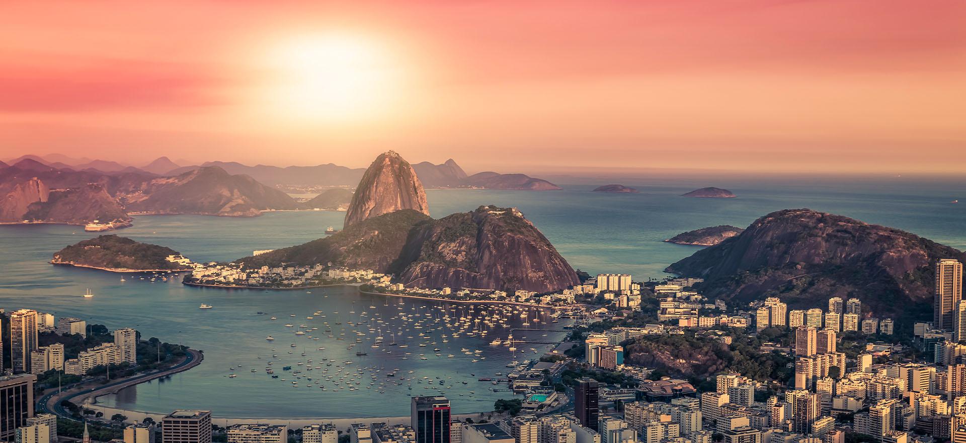Sugarloaf mountain at sunset, Rio de Janeiro