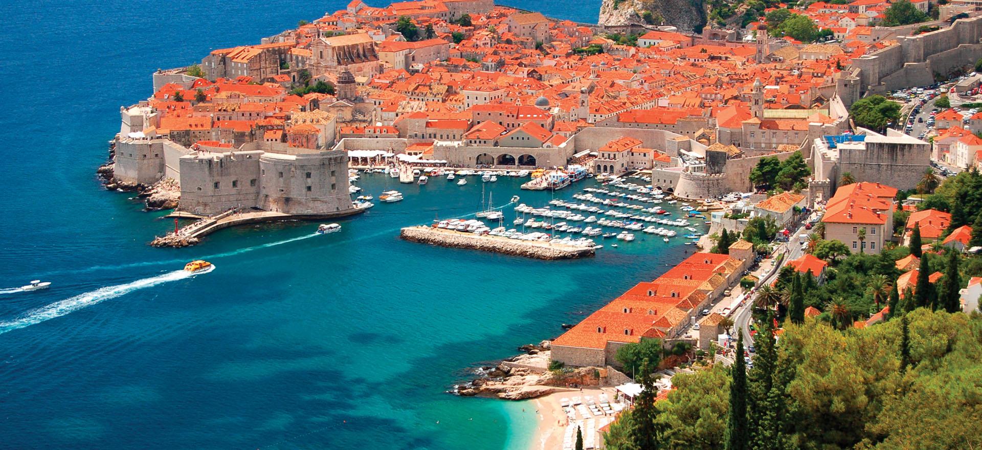 Terracotta rooftops of Dubrovnik harbour
