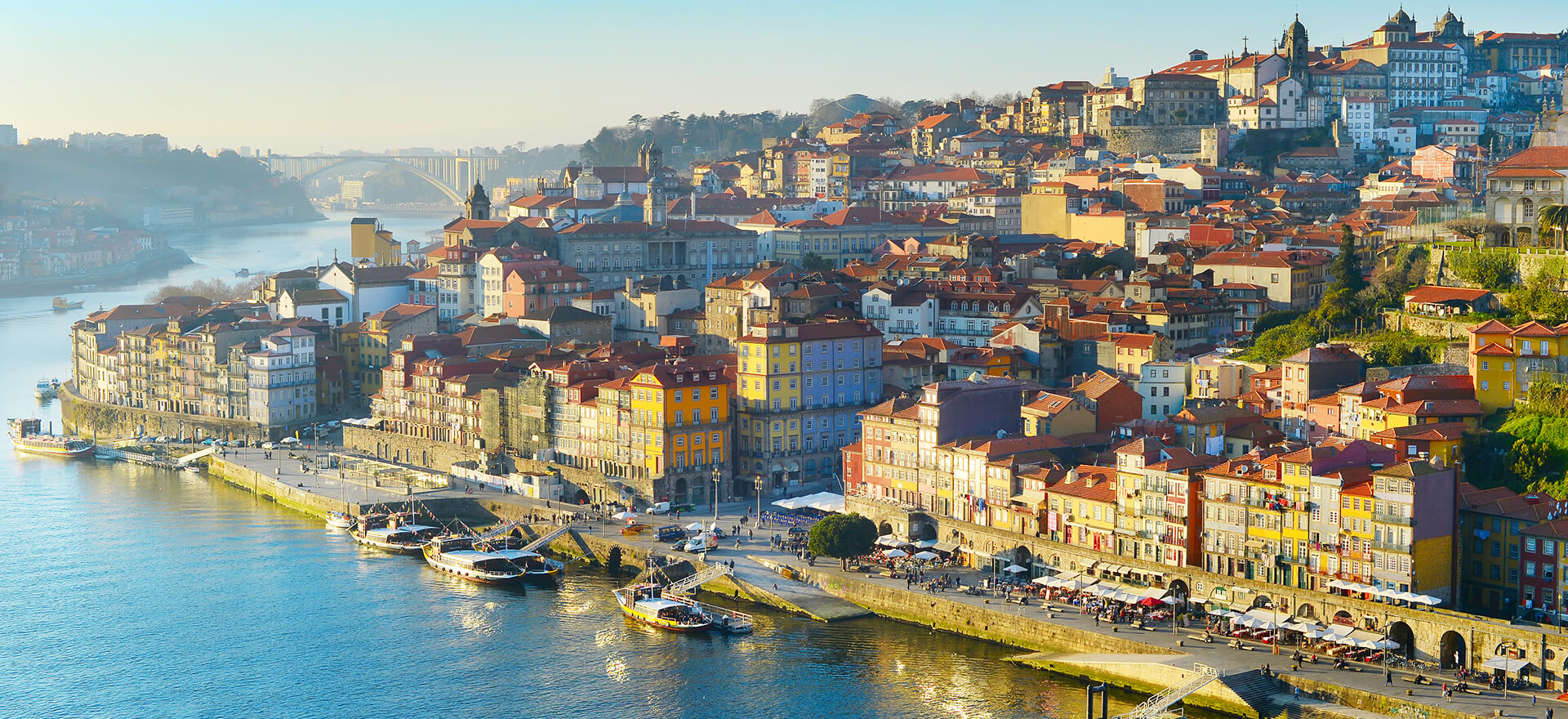 Port town of Porto along the Douro river in Portugal