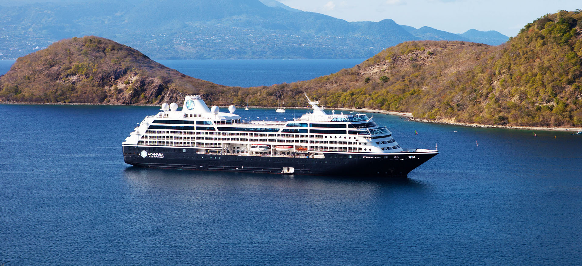 Azamara Quest ship, sailing on open waters