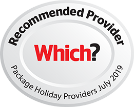 Which? Reccommended Provider Package Holiday Providers July 2019 silver and red logo