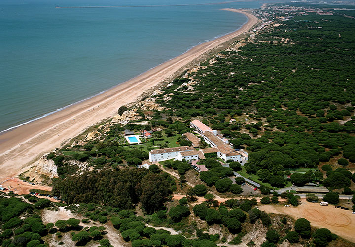 Aerial view of the Parador de Mazagón in Doñana National Park